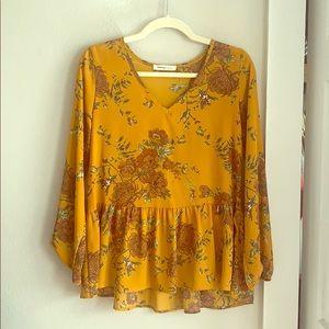 Newbury Kustom Tops - Mustard yellow long sleeved blouse
